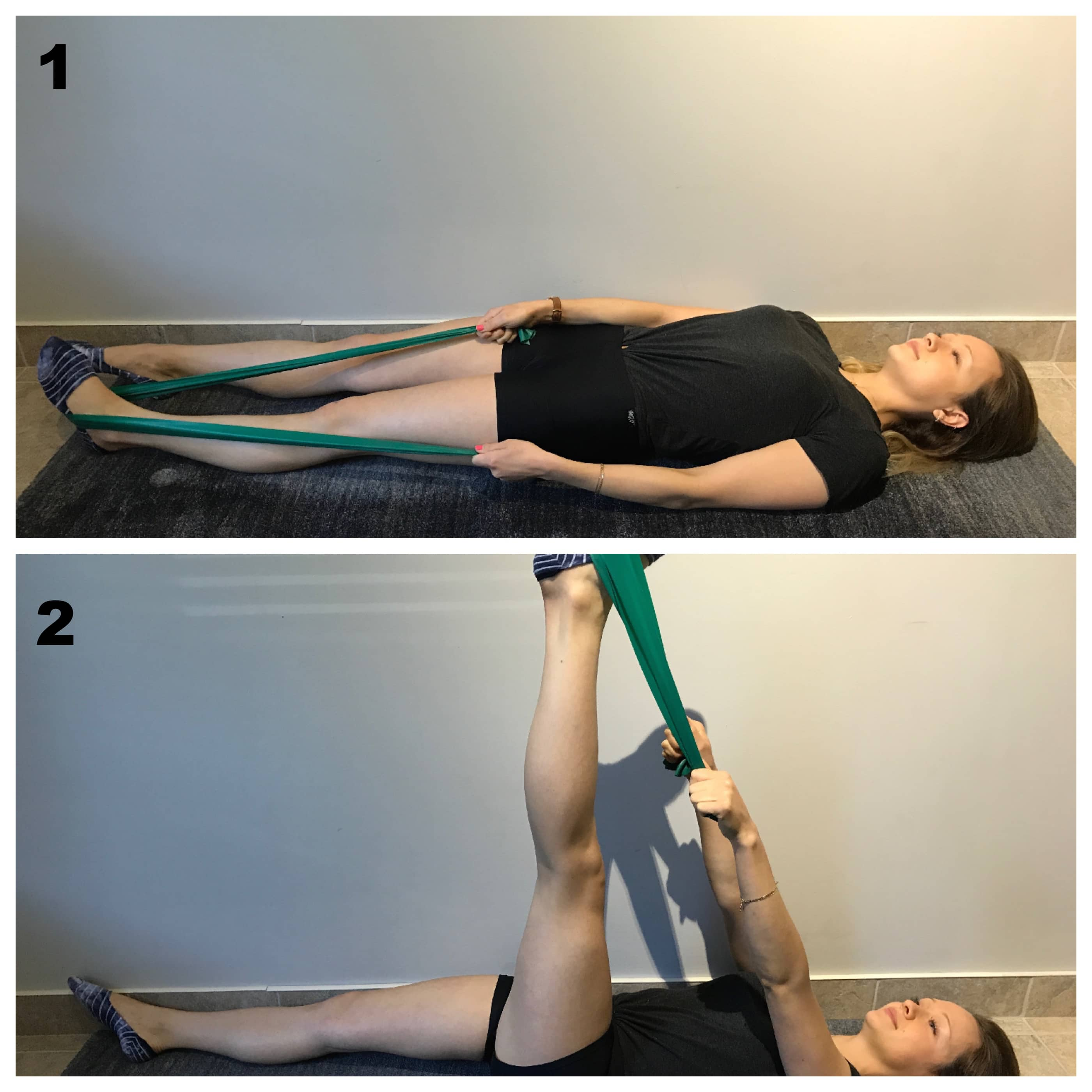 Etirement des muscles ischio jambier elastique pour entorse lombaire