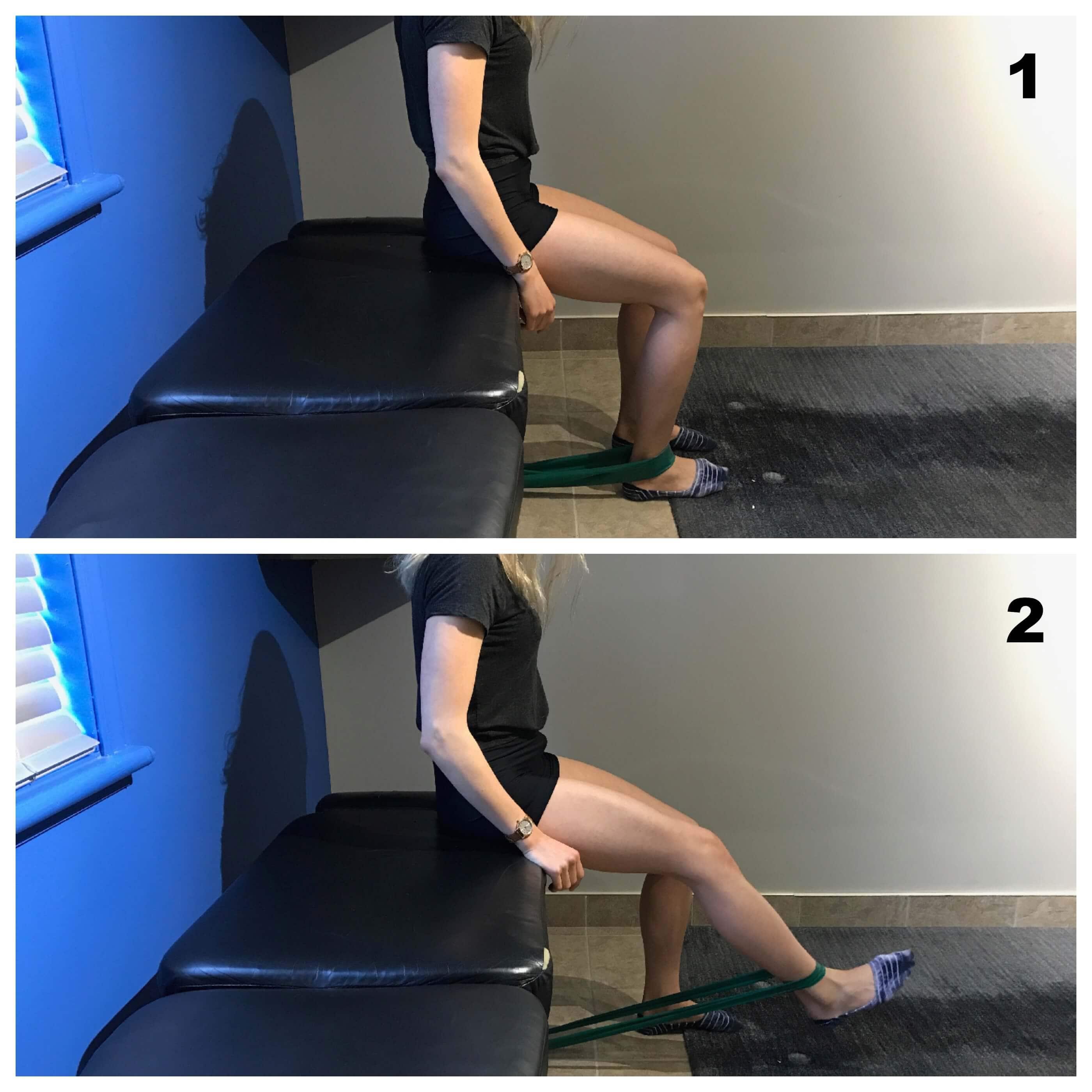 Force quadriceps avec elastique pour syndrome femoro patellaire